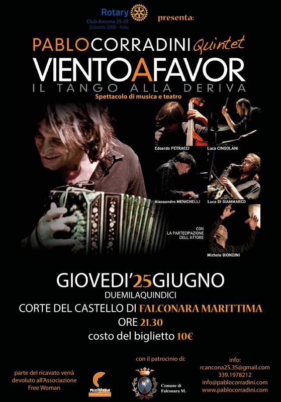 Miniatura per l'articolo intitolato:VIENTO A FAVOR – IL TANGO ALLA DERIVA Pablo Corradini Quintet