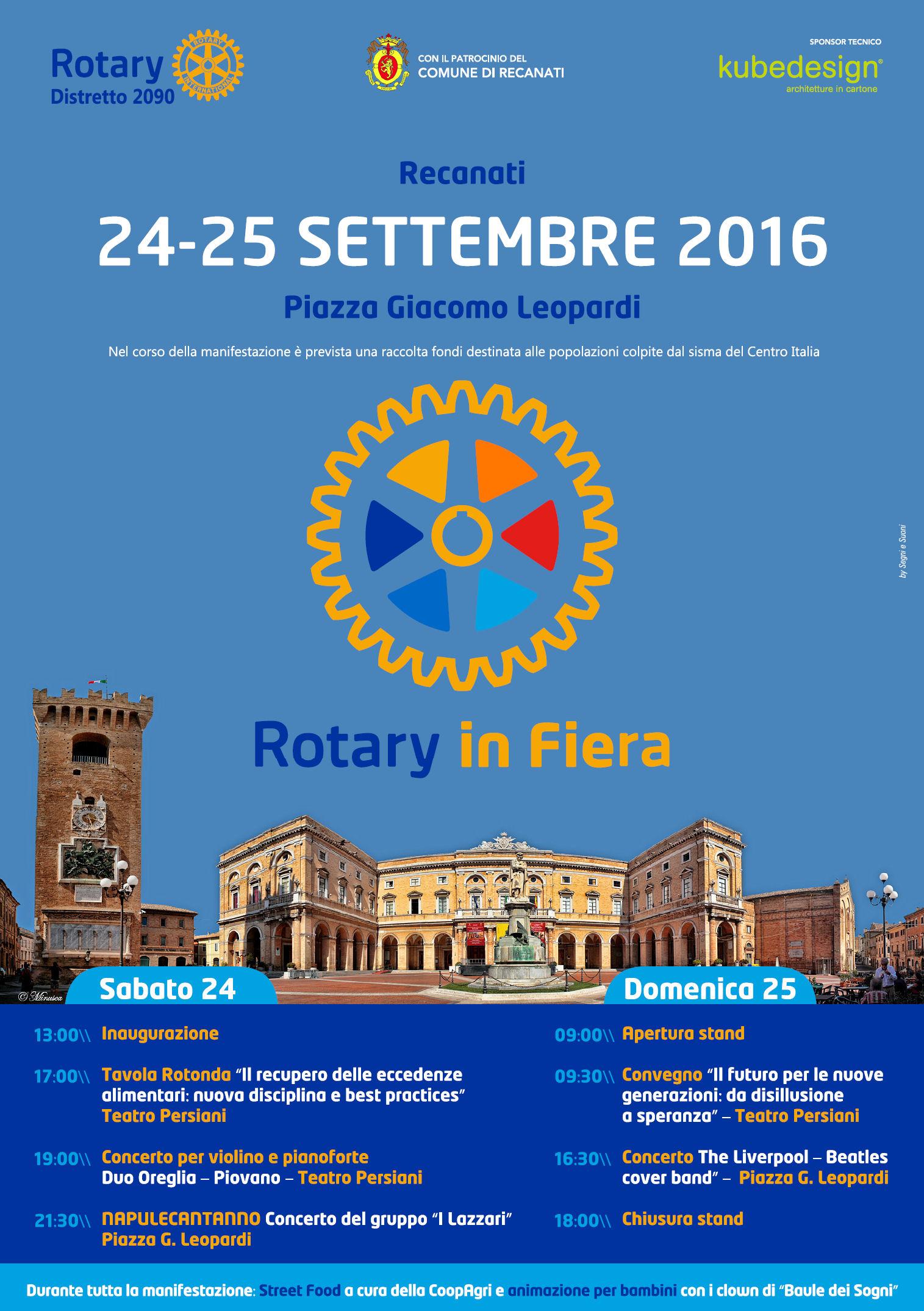 Miniatura per l'articolo intitolato:Rotary in Fiera, Recanati 24 e 25 settembre
