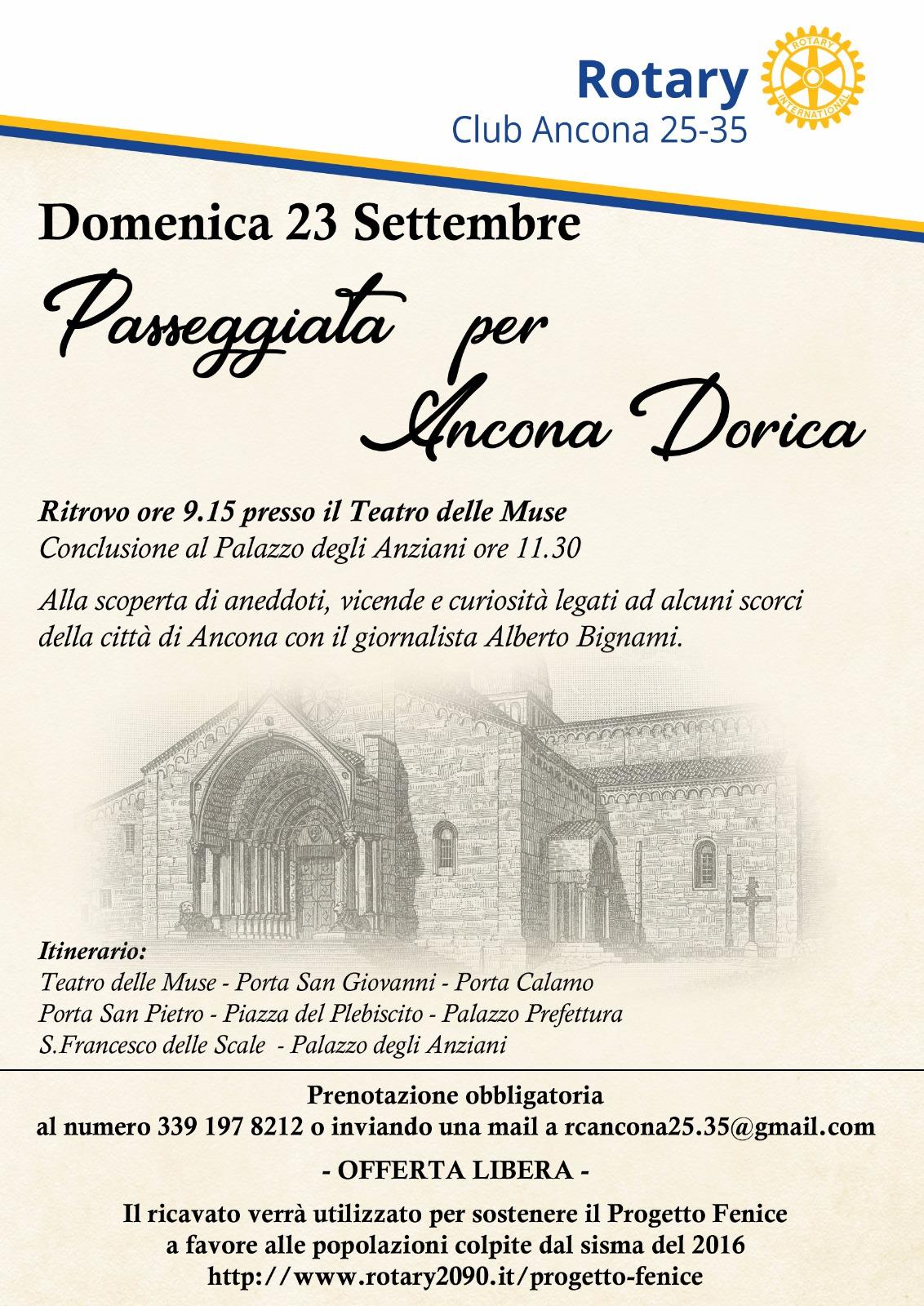 Miniatura per l'articolo intitolato:Passeggiata per Ancona Dorica a favore del Progetto Fenice